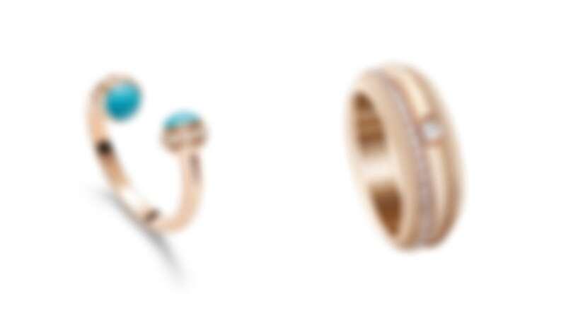 PIAGET Possession系列:18K玫瑰金綠松石鑽石戒指、18K玫瑰金鑽石戒指。
