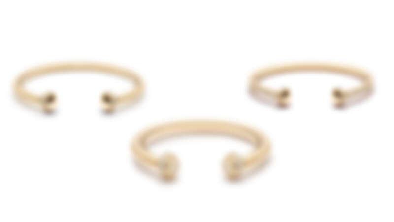 PIAGET Possession系列30週年限定作品:18K黃金鑽石手鐲(30顆圓形明亮式切割美鑽)、18K黃金鑽石手鐲(182顆圓形明亮式切割美鑽)、18K黃金鑽石手鐲(90顆圓形明亮式切割美鑽)。