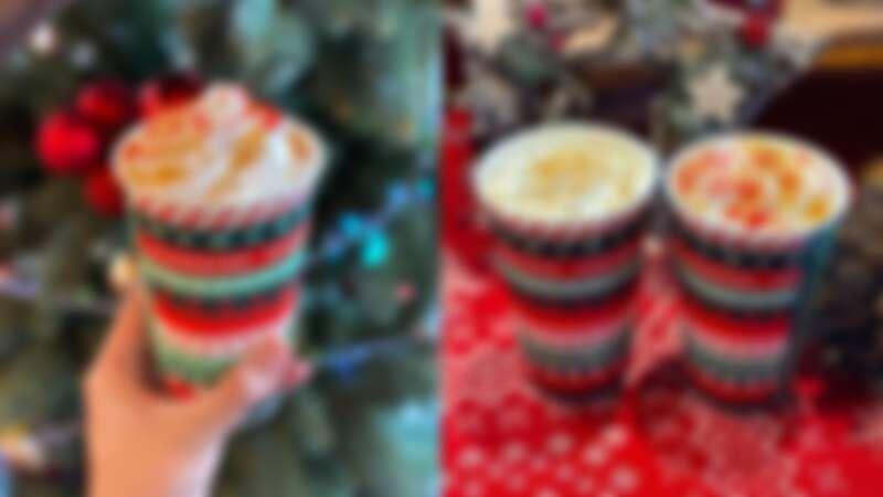 「烤蘋果風味那堤」(左)