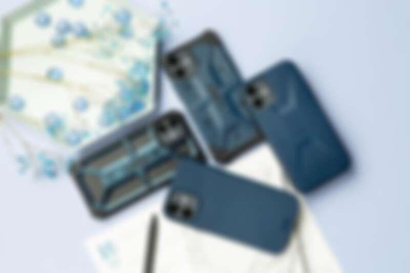 UAG海軍藍系列手機殼,左到右:頂級系列、實色系列、環保系列、簡約系列