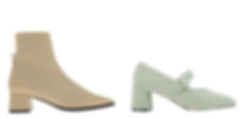 針織粗跟襪靴,NT2,390、絨毛瑪莉珍鞋,NT1,690