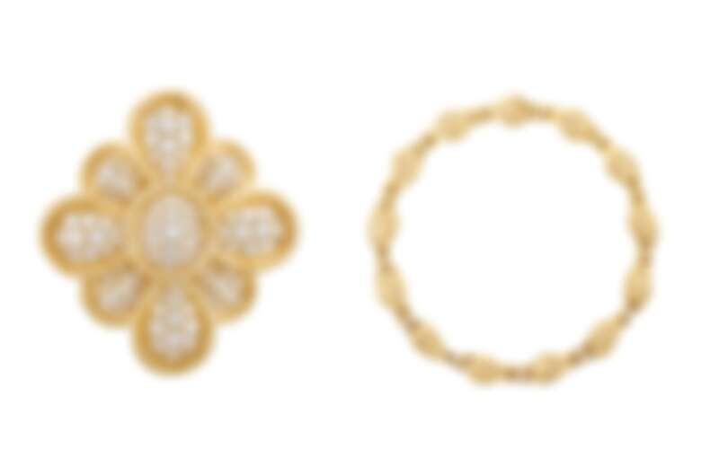 Morgins胸針及吊墜,1972年,黃K金、白K金 、玫瑰金、鑽石;Médicis項鍊,1985年,黃K金、鑽石。
