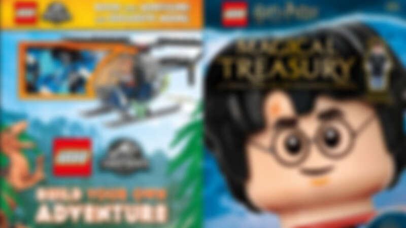誠品書店 《侏儸紀公園》與《哈利波特》樂高書,隨書附上小積木跟角色人偶 特價599元 原價1,045-1,100元。