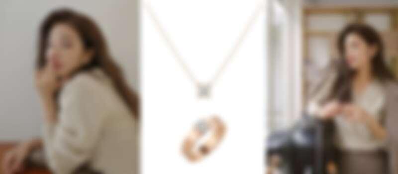 許路兒配戴卡地亞LOVE單鑽玫瑰金戒指及C DE CARTIER鑽石項鍊