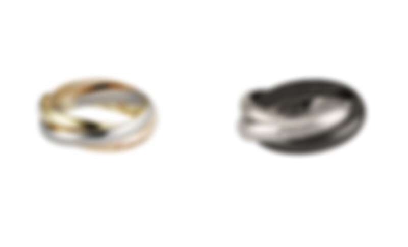 卡地亞Trinity三環戒指,玫瑰K金、黃K金、白K金,(窄版)、卡地亞Trinity三環陶瓷戒指,白K金、陶瓷(窄版)。