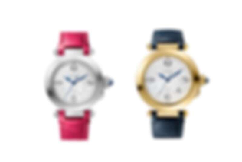 Pasha de Cartier系列精鋼腕錶、Pasha de Cartier系列黃K金腕錶,錶冠下可鐫刻個人化字母