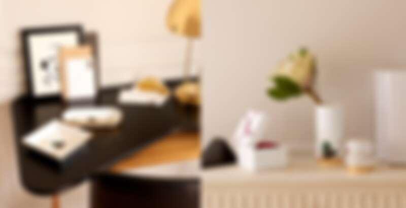 左:Panthère de Cartier信封&信紙組、Panthère de Cartier美洲豹托盤(小型款)、Panthère de Cartier美洲豹托盤;右:Entrelacés de Cartier 珠寶盒(中型款)、Panthère de Cartier美洲豹中型花瓶、Panthère de Cartier筆筒