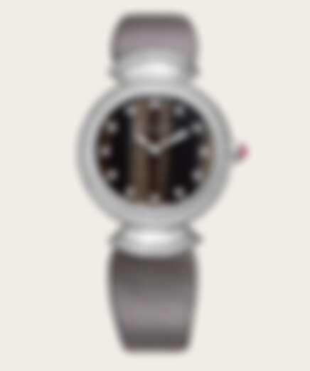 Bulgari 寶格麗Divas' Dream系列手錶,18K白金錶殼鑲飾明亮型切割鑽石。天然醋酸纖維錶盤,鑽石時標,灰色緞面錶帶。 NT$584,000