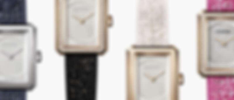 BOY∙FRIEND 腕錶搭載可替換式錶帶設計—斜紋軟呢布料錶帶