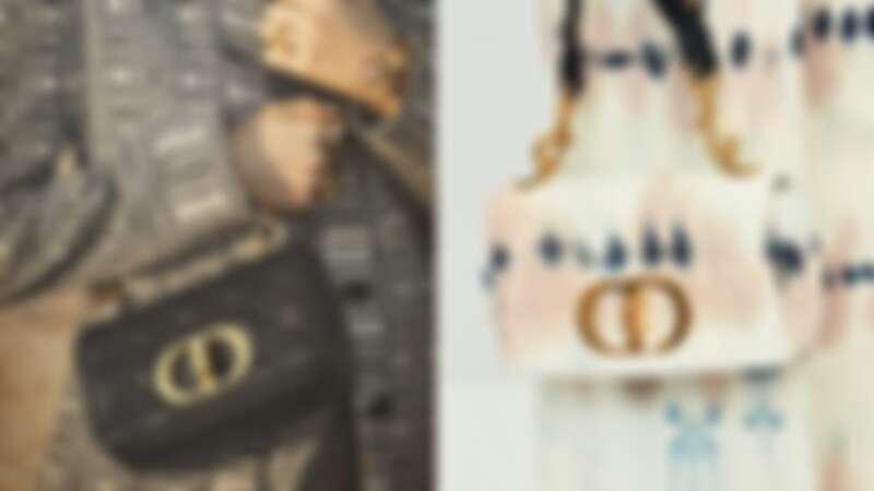 Dior Caro鏈帶翻蓋包,大型NT140,000、小型NT115,000(左) / 紮染丹寧,NT115,000(右)