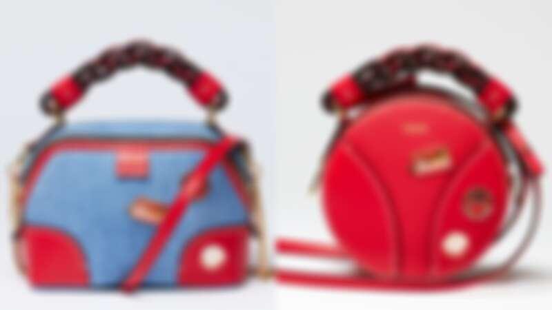 Chloé Daria丹寧徽章迷你肩背手提兩用包,NT51,600 / Chloé Daria紅色徽章迷你小圓包,NT38,600