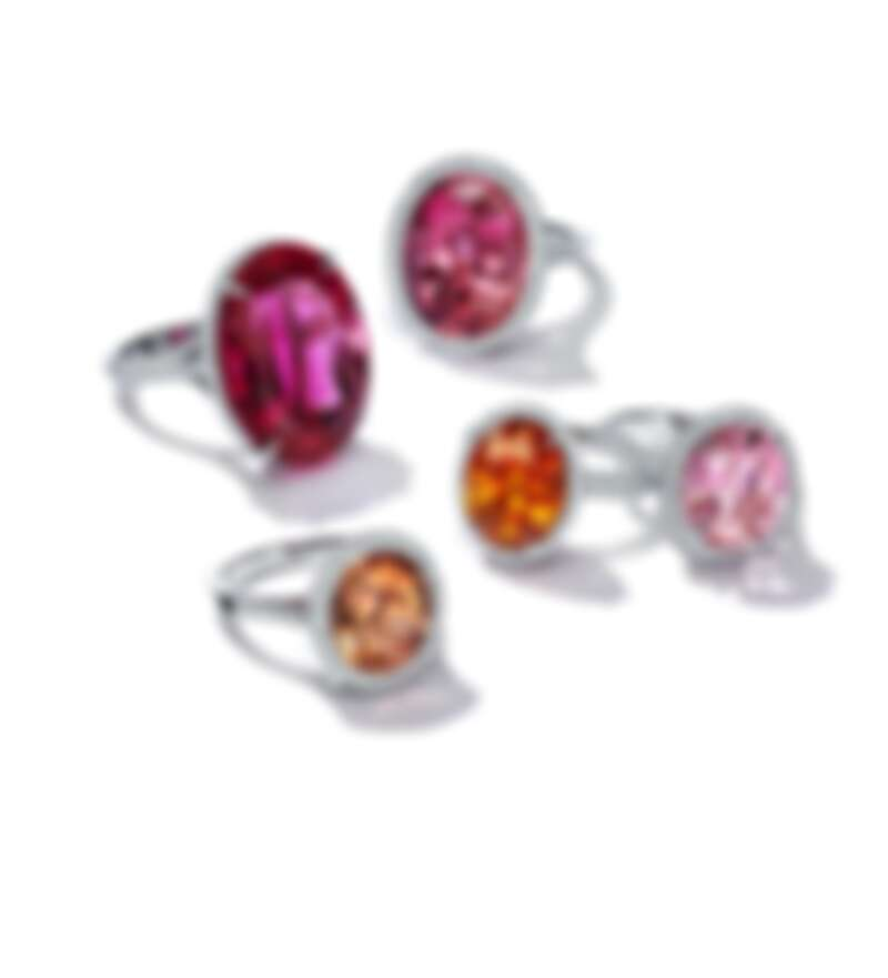 Tiffany Ring in Platinum 系列 - 鉑金鑲嵌橢圓型彩色寶石與鑽石戒指 價格店洽