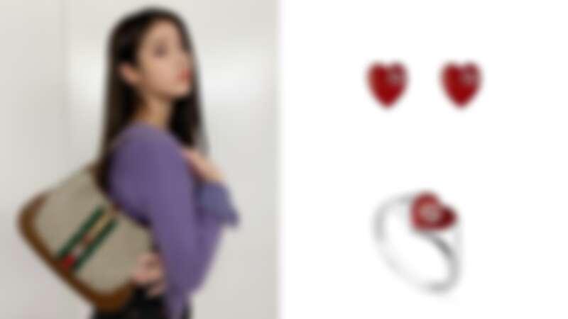 Gucci Jackie 1961賈姬包、紅色琺瑯心形耳環,NT7,600、紅色琺瑯心形戒指,NT8,900