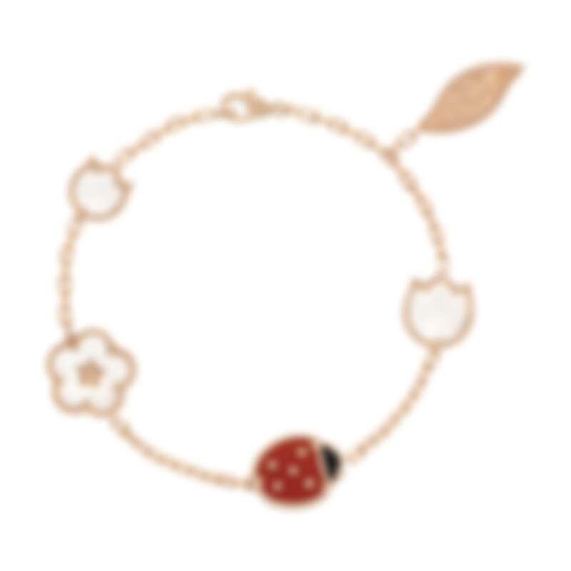 Van Cleef & Arpels (VCA) 梵克雅寶 Lucky Spring手鍊,五枚綴飾,玫瑰金,白色珍珠母貝,紅玉髓,縞瑪瑙,建議售價約148,000元