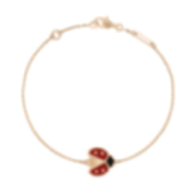 Van Cleef & Arpels (VCA) 梵克雅寶 Lucky Spring手鍊,展翅瓢蟲,玫瑰金,紅玉髓,縞瑪瑙,建議售價約85,500