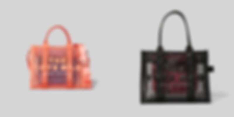 Marc Jacobs透視網狀托特包(珊瑚橘/黑),售價NT$ 12,900(小)/NT$ 13,900(大)