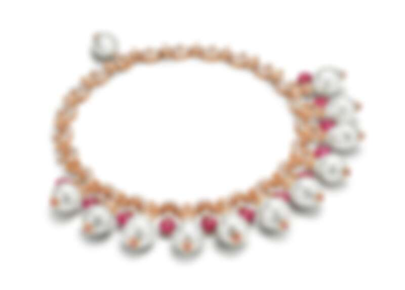 BVLGARI BAROCKO系列頂級碧璽、珍珠與鑽石項鍊 頂級玫瑰金項鍊,鑲嵌12顆南海珍珠、24顆碧璽圓珠與蛋面切割碧璽(總重約35.96克拉)、23顆圓形明亮切割鑽石與密鑲鑽石(D-F IF-VVS,總重約18.46克拉)。