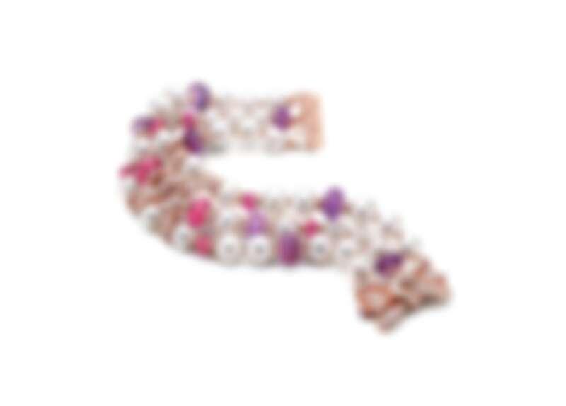 BVLGARI BAROCKO系列頂級紅碧璽、珍珠與鑽石手鍊 頂級玫瑰金手鍊,鑲嵌36顆Akoya白色珍珠、10顆紫水晶圓珠(總重約36.15克拉)、8顆圓形切割與紅碧璽圓珠(總重約18.73克拉)、16顆花式階梯形切割鑽石(F-G VVS-VS)與密鑲鑽石(D-F IF-VVS,總重約5.95克拉)。