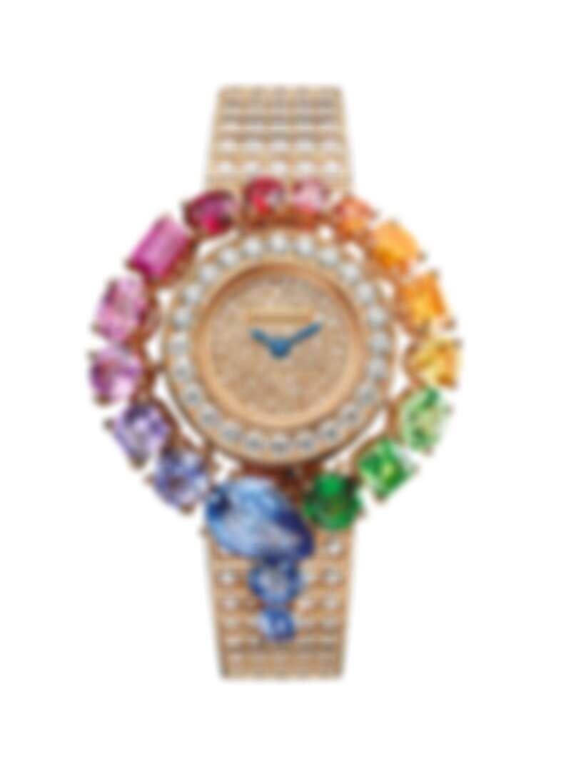 BVLGARI SERPENTI INCANTATI RAINBOW腕錶 機芯 寶格麗專屬石英機芯;刻有BVLGARI logo;防水深度30公尺。 錶殼與錶盤 錶徑33MM,黃K金錶殼,鑲飾3顆圓形、橢圓形和方形切割深至淺綠色沙弗萊石(總重約 1.67 克拉),3 顆顏色由黃至橘的圓形、橢圓形和長方形切割橘黃色剛玉(總重約 1.38 克拉),1 顆圓形切割錳鋁榴石,2 顆圓形與方形切割橘紅色尖晶石,2 顆顏色由濃至淺的橢圓形和花式切割紅寶石(總重約 1 克拉);7顆橢圓形、圓形、梨形和花式切割顏色由濃郁至淺的粉色、紫色剛玉和藍寶石(總重約 6.56 克拉);玫瑰金錶盤,鑲飾 150 顆圓形切割鑽石。黃K金錶殼及錶帶共鑲嵌 282顆圓形明亮切割鑽石(總重約 8.98 克拉);小時與分鐘顯示。 錶鍊與錶帶 黃K金錶帶鑲嵌圓形明亮切割鑽石。 參考售價:約新台幣 7,033,000元