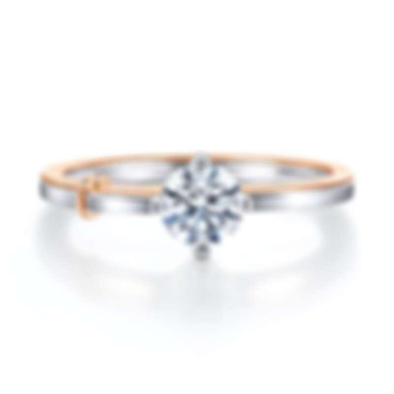 點睛品 PROMESSA 「同心結」18K白金玫瑰金雙色鑽石戒指