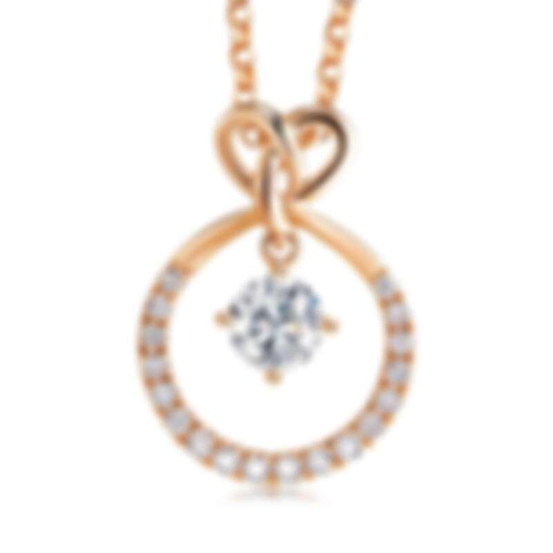 點睛品 PROMESSA「同心結」18K玫瑰金鑽石圓環頸鍊