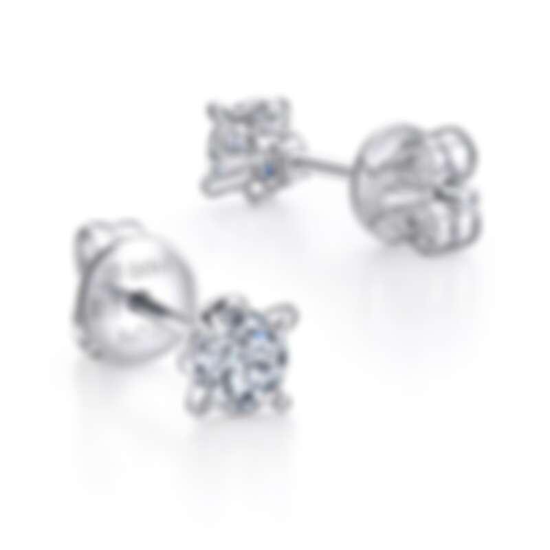 點睛品 PROMESSA 「同心結」18K白金鑽石耳環