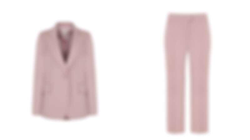 Lynn粉色羊毛西裝夾克,約NT16,000、西裝褲,約NT10,000