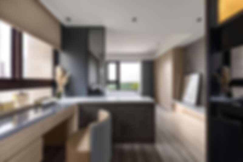 你想像過把「吧台」引入臥室?彤雲潤景巧思以吧台桌取代傳統隔牆,分隔出臥室兩處空間。