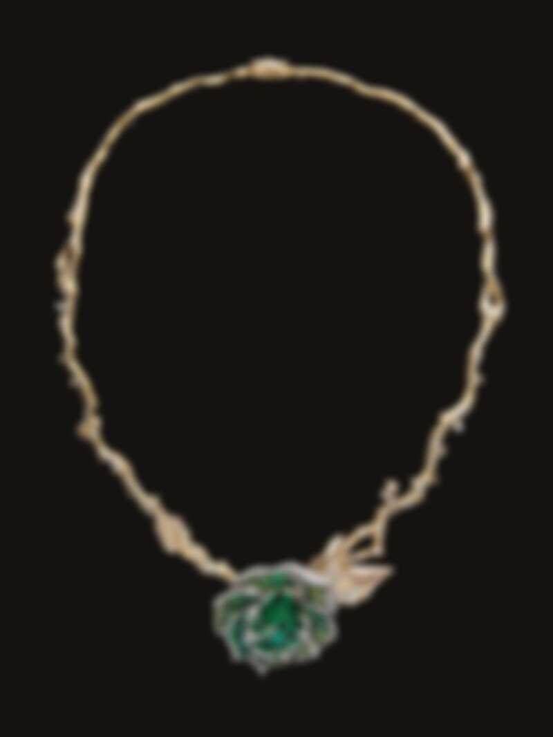 RoseDior 祖母綠鉑金鑽石項鍊