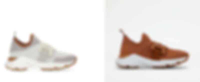 TOD'S Kate 白色運動休閒鞋、Kate 粉棕色運動休閒鞋,各NT25,900