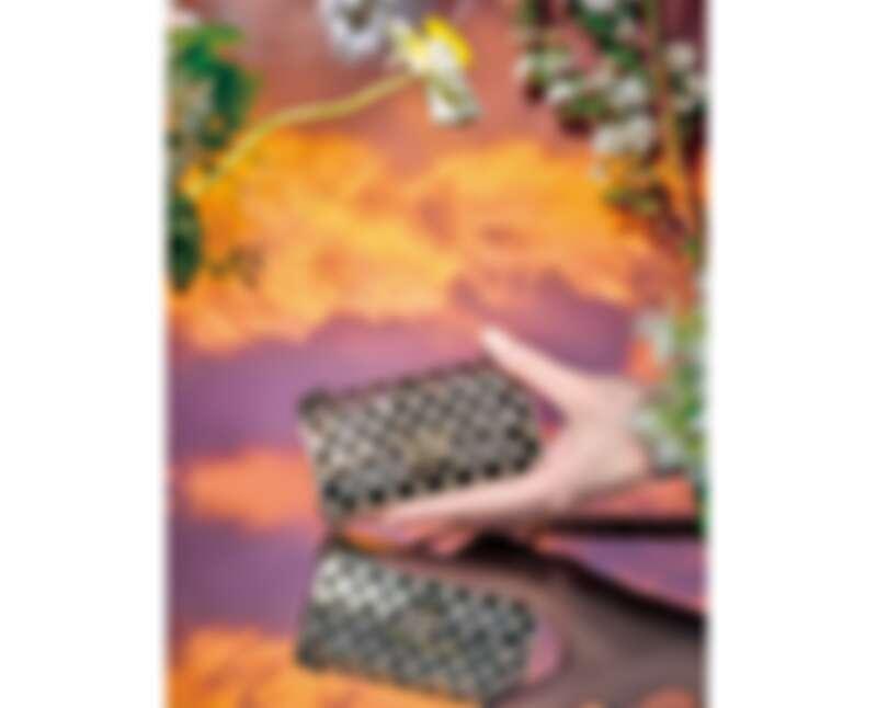 CHANEL金屬鏤空菱格紋內襯黑色皮革11.12晚宴包