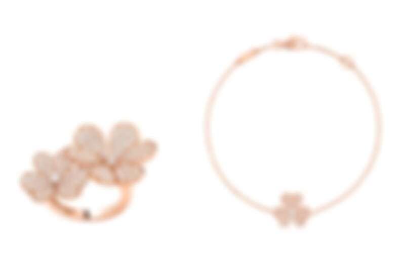 (左)Frivole Between the Finger指間戒,玫瑰金、鑽石,建議售價約NT645,000、(右)Frivole手鍊,迷你款式,玫瑰金、鑽石,建議售價約NT115,000