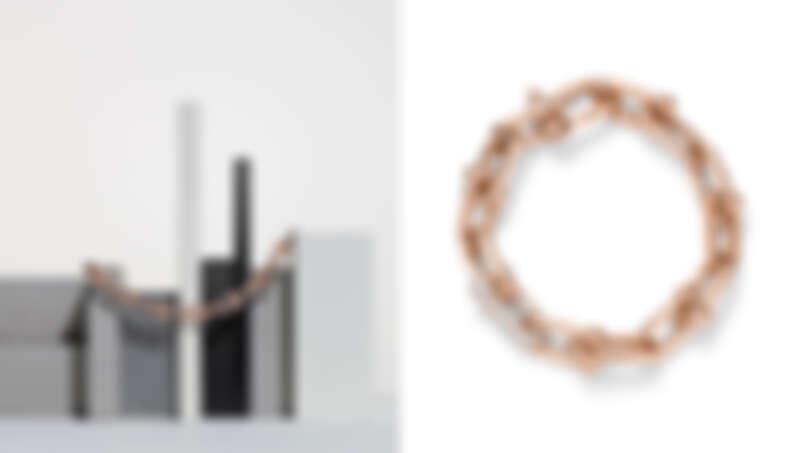Tiffany HardWear 18K玫瑰金鏈結設計鑲鑽手環