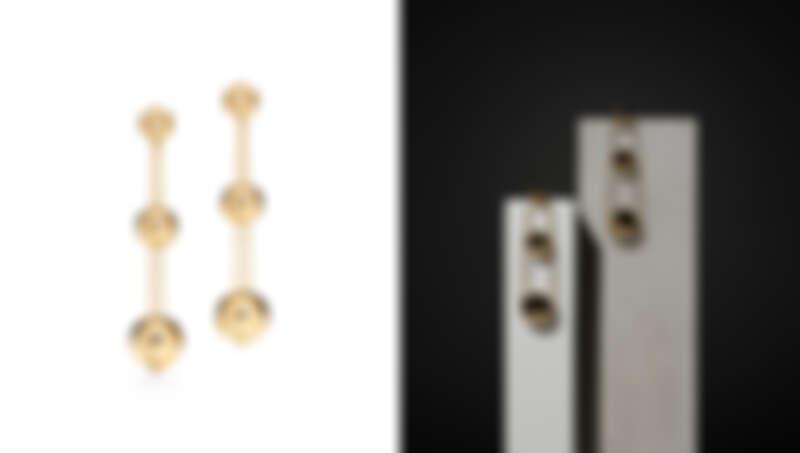 Tiffany HardWear 18K金三層垂墜式球形耳環