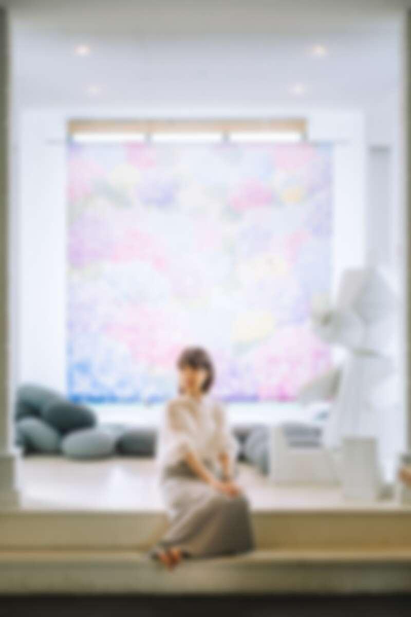 巨幅繡球花布