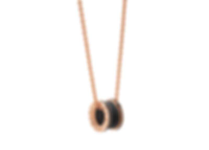 BVLGARI B.zero1系列玫瑰金啞光黑陶瓷項鍊_參考售價:約新台幣:140,100元 (Size:54 – 60 cm)