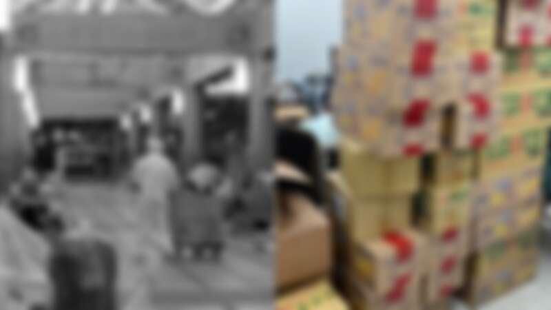 湧入的愛心物資及深夜發放物資給街友的社工。圖片來源/芒草心慈善協會社工