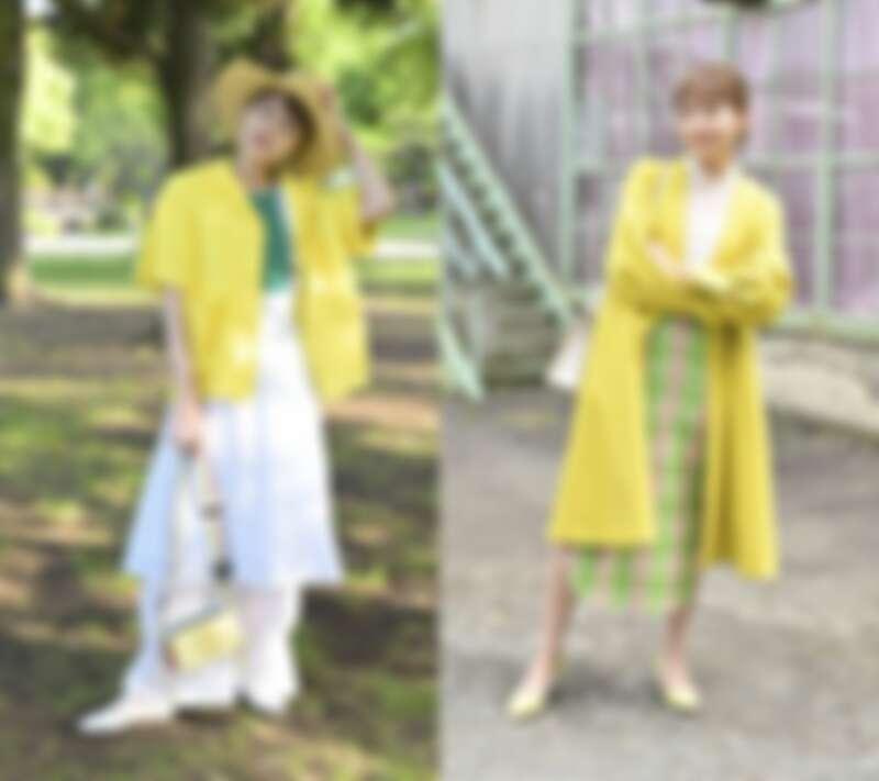 以亮黃、螢光黃色系外套來堆疊出層次感