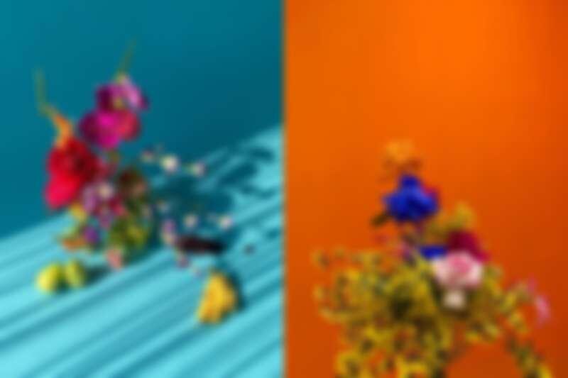 想想的花束配色大膽鮮豔。