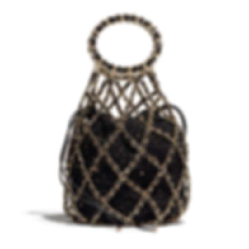 黑色斜紋軟呢亮片刺繡皮穿鍊漁網造型提把包,NT198,500