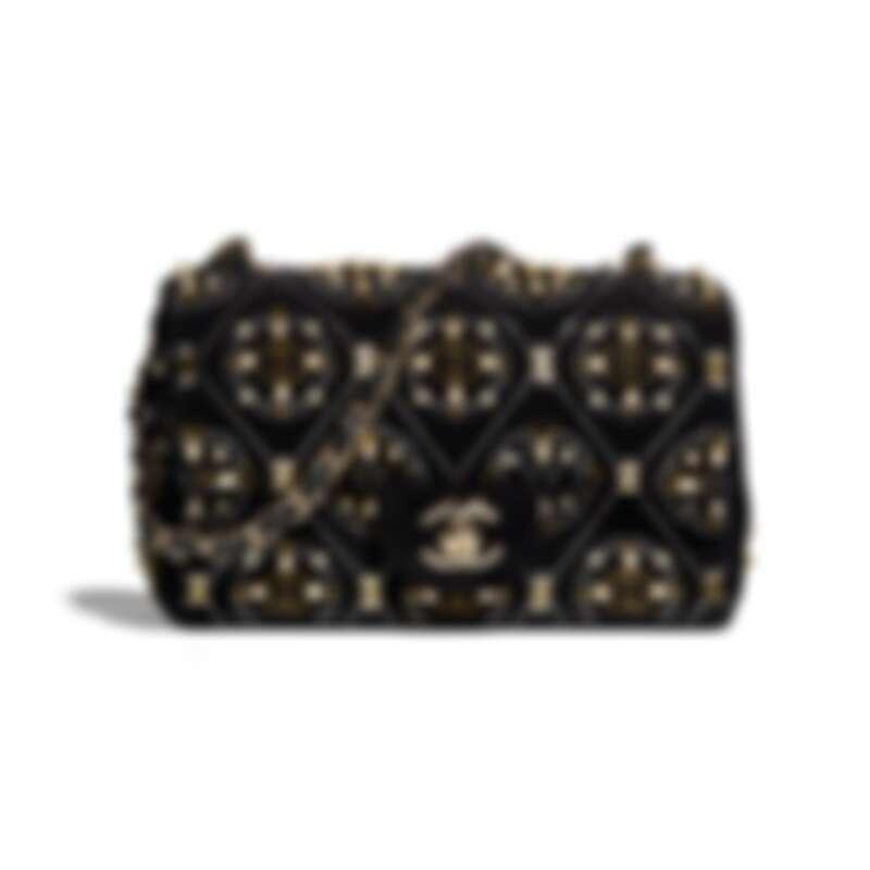 黑色天鵝絨幻象珍珠刺繡皮穿鍊肩背包,NT318,800
