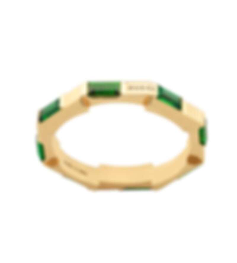 Gucci Link to Love系列戒指,18K黃金鑲嵌綠碧璽,NT$81,300
