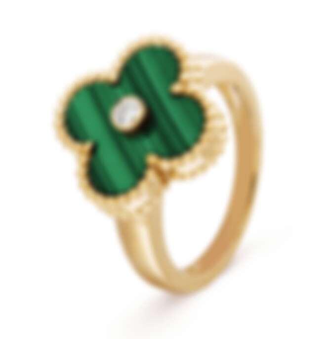 Van Cleef & Arpels (VCA) Vintage Alhambra 系列戒指,18K黃金鑲嵌孔雀石與鑽石,NT$116,000