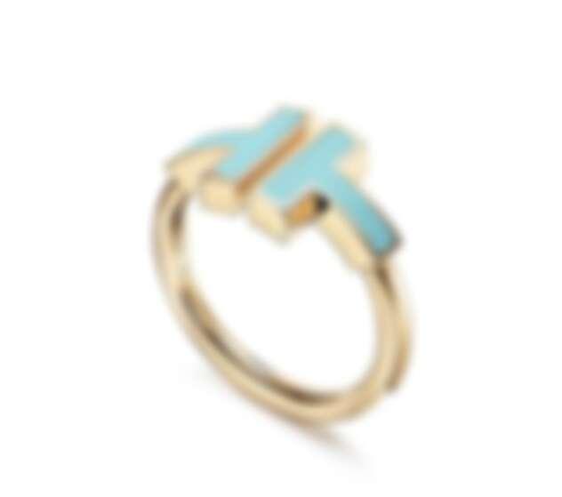 Tiffany & Co. Tiffany T Wire 系列戒指,18K黃金鑲嵌綠松石