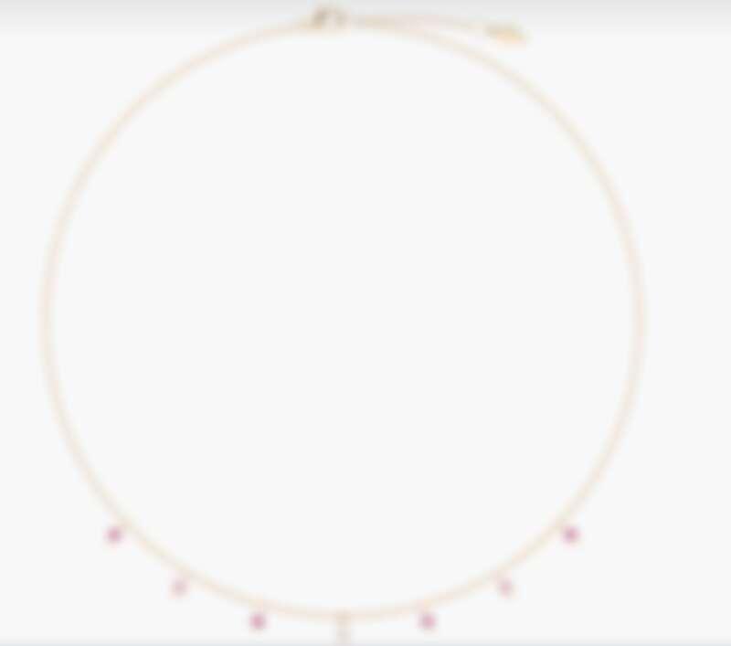 Piaget Sunlight系列項鏈,18K玫瑰金,鑲飾1顆明亮形切割圓形鑽石(約0.06克拉)和6顆粉紅色藍寶石(約0.48克拉),NT$108,000