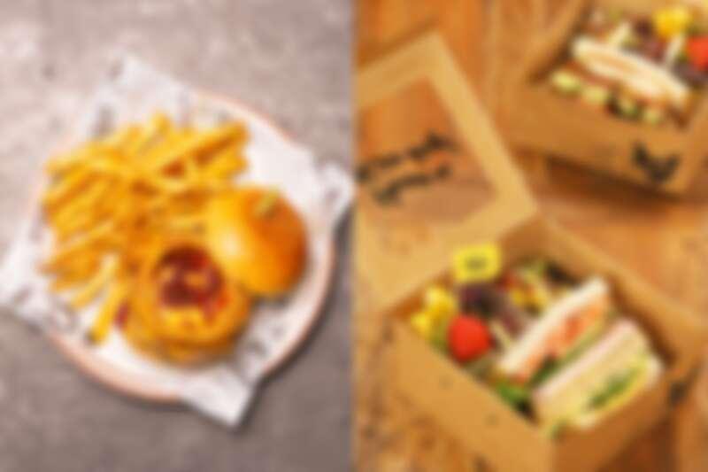 (左)樂青春畢業生限定漢堡餐,(右)WFH均衡餐盒。