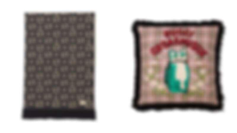 (左)Gucci 經典圖紋羊毛毯,NT41,900。(右)Gucci Orgasmique 貓咪靠枕,NT32,700。