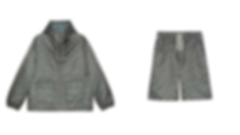 (左)Gucci Off The Grid岩石灰拉鍊外套,售價NT$70,500/(右)Gucci Off The Grid岩石灰短褲,售價NT$28,500