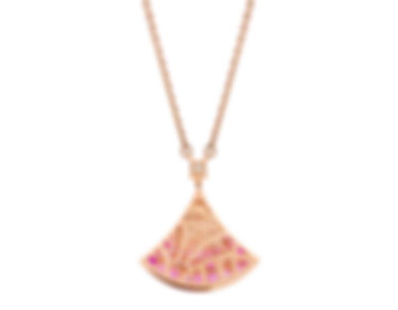 BVLGARI Divas' Dream系列玫瑰金鑽石與粉紅剛玉項鍊(獨賣七夕首推)參考售價:約新台幣146,300元