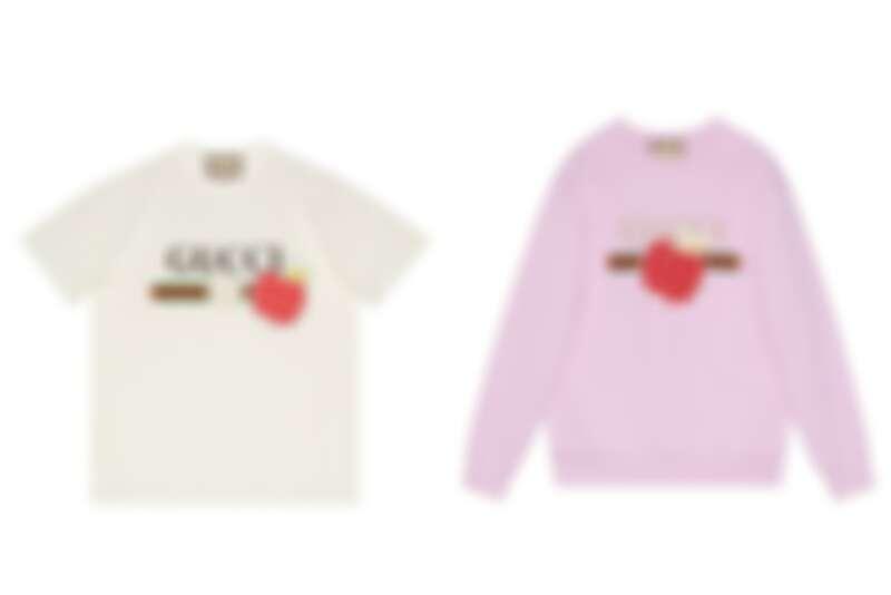 Gucci Les Pommes七夕情人節系列:T-Shirt NT19,500、粉色衛衣NT40,000。